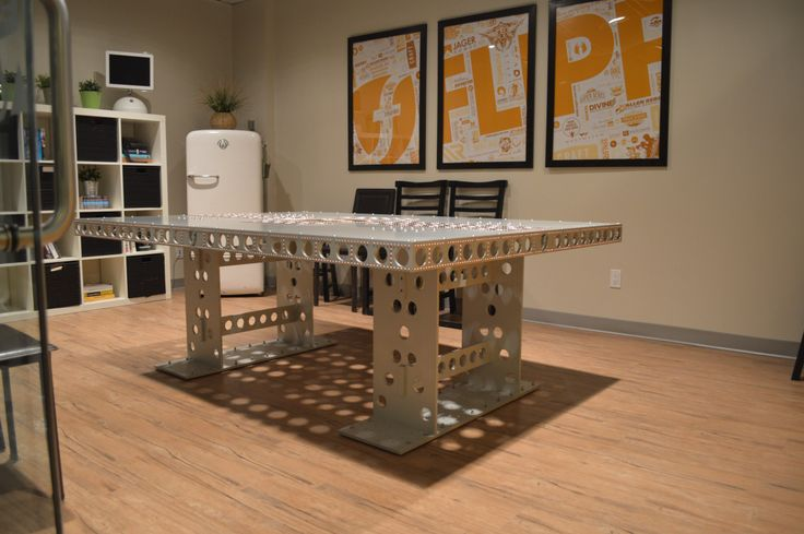 Profile view of the Boardroom Empire. 550lb aluminum boardroom table.
