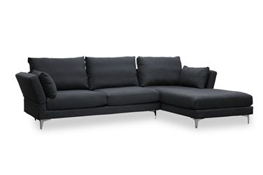 Baxton Studio Fangio Grey Upholstered Foldable-Back Modern Sectional Sofa Affordable modern furniture in Chicago, Fangio Grey Upholstered Foldable-Back Modern Sectional Sofa, Living Room Furniture Chicago