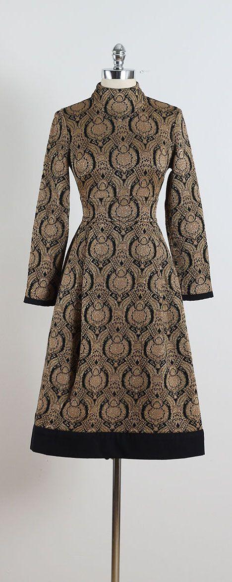 Barberini ➳ vintage 1960s dress  * brown wool * gold metallic yarn * black art deco style print * black trim * back zipper * by Kimberly  condition |