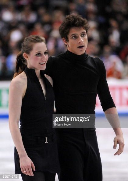 Tessa Virtue and Scott Moir of Canada compete during the ice dance free dance event at the 2009 World Figure Skating Championships at the Staples Center in Los Angeles on March 27, 2009. Oksana Domnina and Maxin Shabalin of Russia won the gold, with Tanith Belbin and Benjamin Agosto from the US taking the silver and Tessa Virtue and Scott Moir from Canada the bronze.