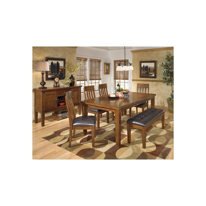 Ralene RECT DRM Butterfly EXT Table 4 Upholstered Barstools Large UPH Dining Room Bench