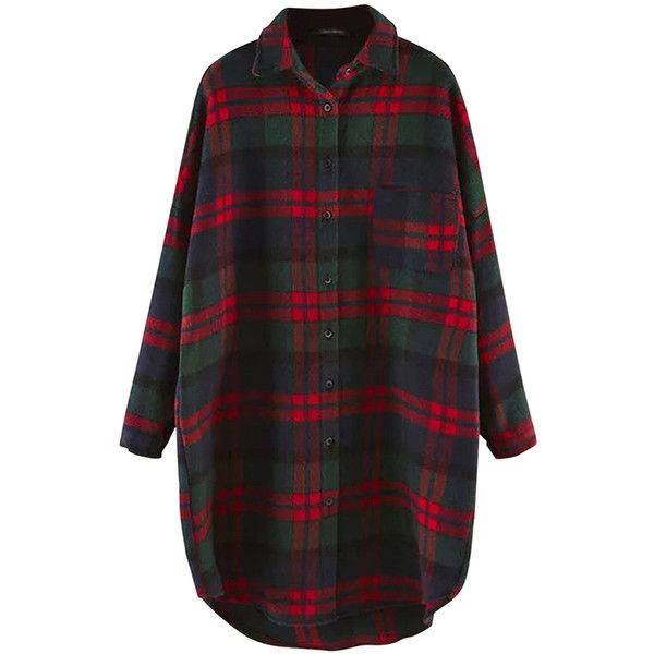 Green Plaid Thick Long Sleeve Loose Womens Blouse ($31) ❤ liked on Polyvore featuring tops, blouses, shirts, dresses, flannel, green, long sleeve blouse, shirts & blouses, long sleeve flannel shirt and green shirt
