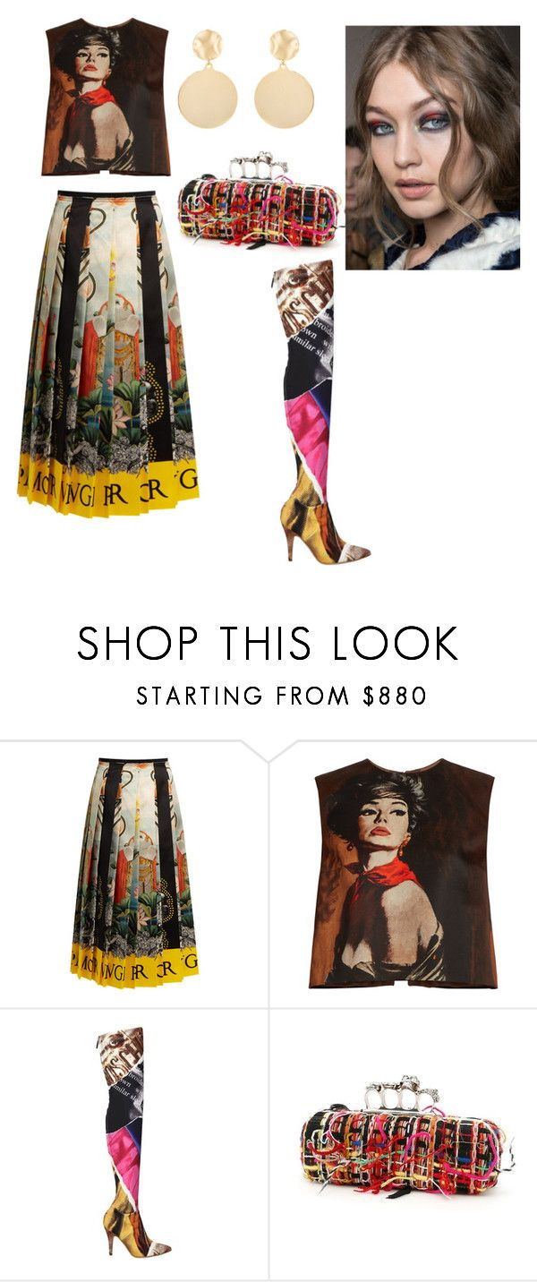 """""""Untitled #7"""" by corina-stanculet ❤ liked on Polyvore featuring Gucci, Prada, Moschino, Alexander McQueen and Mounser"""