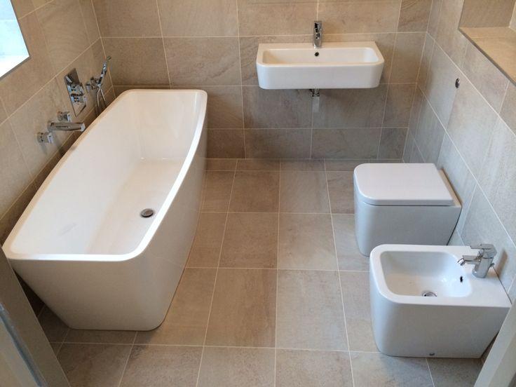 Designer luxury bathroom installed by AQUANERO Bathroom Design & Installation. Bristan taps and valves, basin, bidet & WC GSI brand beautiful tiles from Bellegrove Ceramic in Dartford