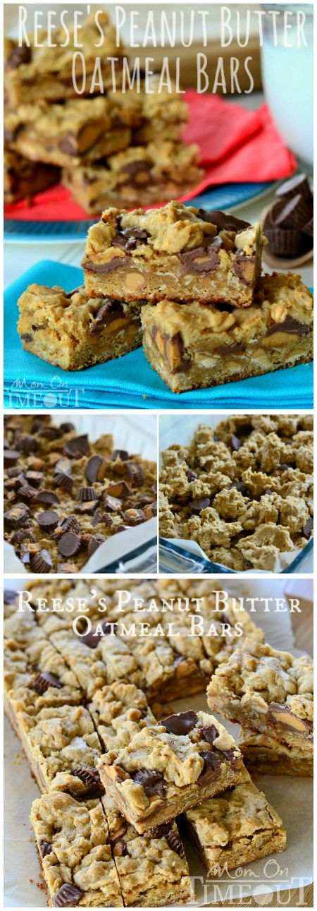 Reese's Peanut Butter Oatmeal Cookie Bars are perfect for the peanut butter lover in your life! Serve with an ice cold glass of milk for extreme satisfaction! | MomOnTimeout.com | #recipe #dessert