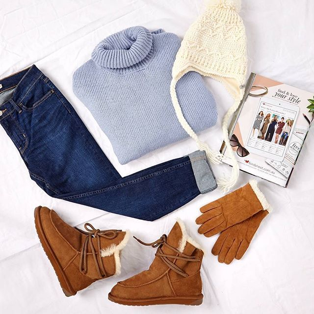 """Stay warm with an outfit that's perfect for lazy days at home or any kind of outdoor adventure! Outfit """"Ski Season Ready"""" available at birdsnest.com.au / Outfit Details. Sweater: @bohobirdbybirdsnest, Jeans: #Levis, Gloves: #Jendi. Beanie: #Kooringal, #Boots: #EmuAustralia."""