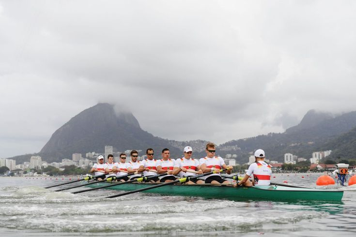 RIO DE JANEIRO, BRAZIL - AUGUST 08:  Maximilian Munski of Germany, Malte Jakschik of Germany, Andreas Kuffner of Germany, Eric Johannesen of Germany, Maximilian Reinelt of Germany, Felix Drahotta of Germany, Richard Schmidt of Germany, Hannes Ocik of Germany and Martin Sauer of Germany compete in the Men's Eight Heat 2 on Day 3 of the Rio 2016 Olympic Games at the Lagoa Stadium on August 8, 2016 in Rio de Janeiro, Brazil.  (Photo by Matthias HangstGetty Images)