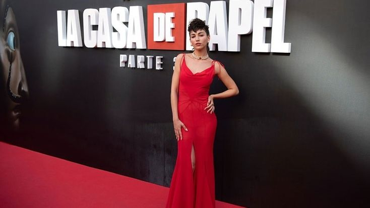 Fire in the Reds by Úrsula Corberó at the premiere of La Casa De Papel