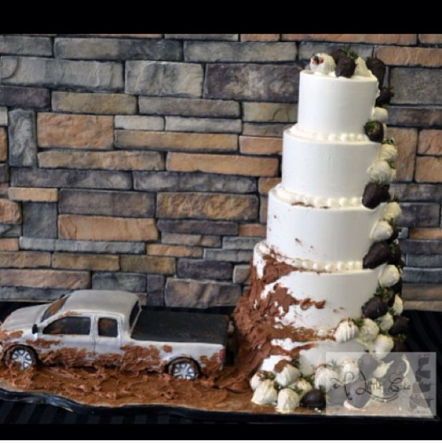 The concept is awesome! The truck would be replaced with a red jeep and so would the wedding cake with a completely different design.