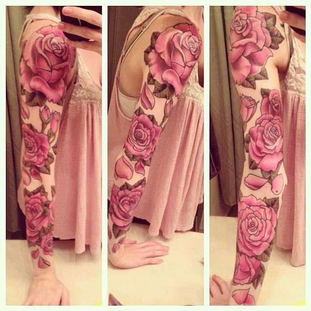 Red rose full sleeve tattoo