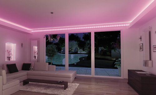 pink neon bedroom, with doors that open to the pool outside.  want.