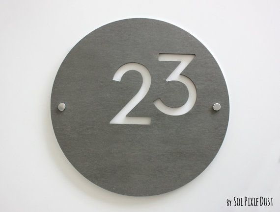 Modern House Numbers, Round Concrete with White Acrylic - Contemporary Home Address - Sign Plaque - Door Number