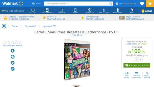[Wal-Mart] Barbie E Suas Irmãs: Resgate De Cachorrinhos - PS3 2431433 - de R$ 118,79 por R$ 100,59 (15% de desconto)