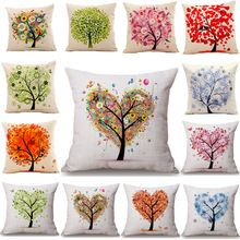 Season Life Tree Cotton Linen Colorful Decorative Pillow Case Chair Square Waist and Seat 45x45cm Pillow Cover Home Textile(China (Mainland))