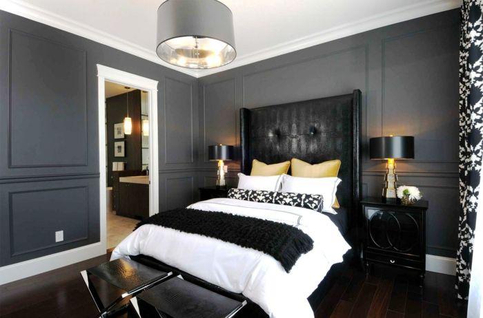 komplettes schlafzimmer schlafzimmer gestalten schlafzimmer schwarz-weiß
