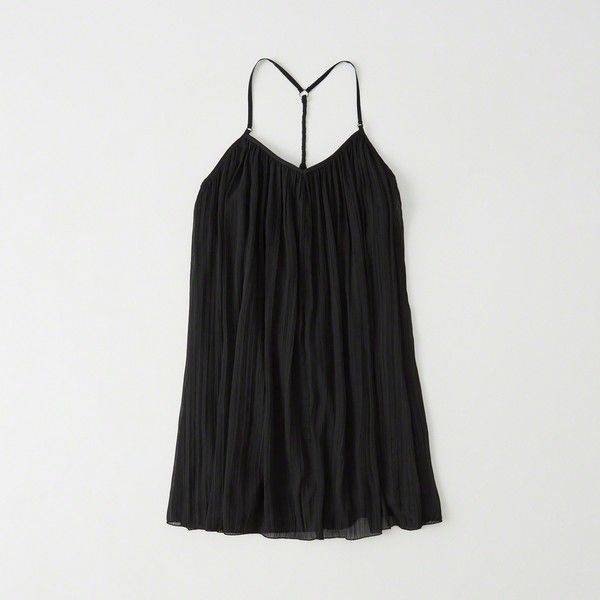 Abercrombie & Fitch Swing Dress ($35) ❤ liked on Polyvore featuring dresses, black, tent dress, trapeze dress, abercrombie fitch dresses and swing dress