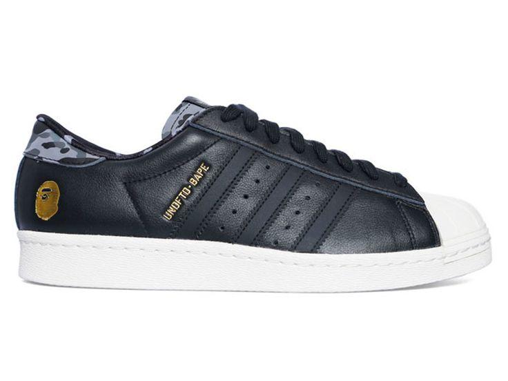"Adidas Superstar 80v ""undftd x bape"" GS - Chaussure de Adidas Pas Cher Pour Femme/Enfant cblack/blanc b34291GS"