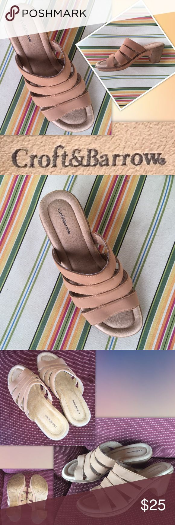 """🆕Stylish sandals from Croft & Barrow (EUC) Croft & Barrow® Women's Slide size 8 Med  SANDAL FEATURES * Strappy design * Tan color * Woman's Size 8 SANDAL CONSTRUCTION * Manmade upper * Faux-suede lining SANDAL DETAILS * Open toe * Slip-on * Padded footbed * 2.5"""" heel * .75-in. platform  Very Clean upper and inner. Excellent used condition. croft & barrow Shoes Heels"""