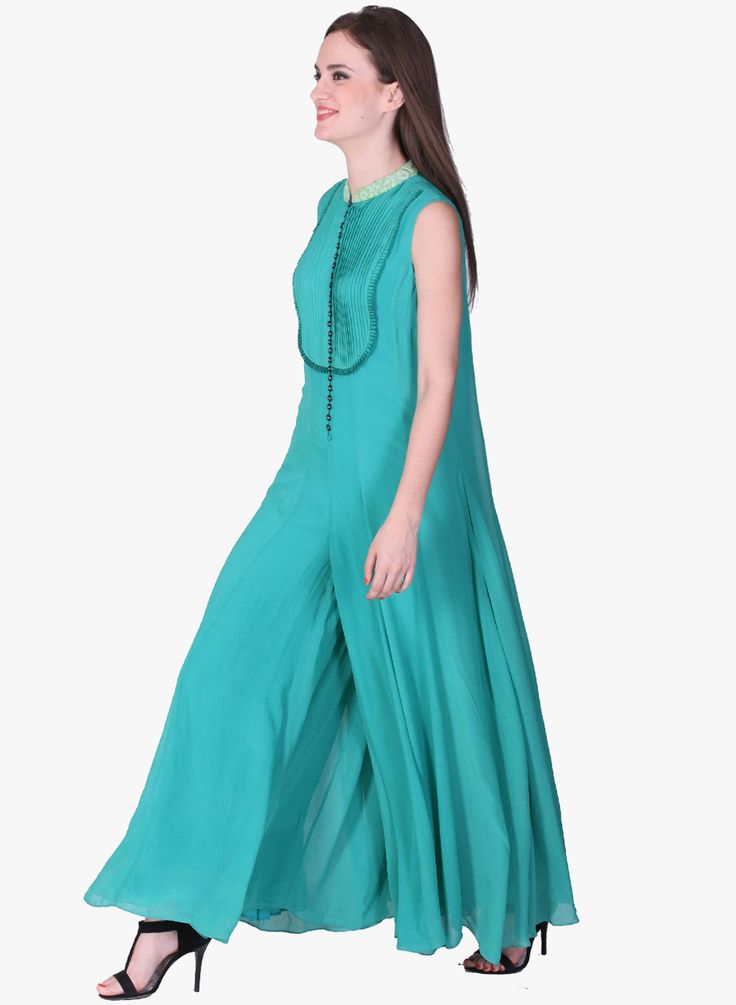 LABEL RITU KUMAR Sea Green Sleeveless Jumpsuit