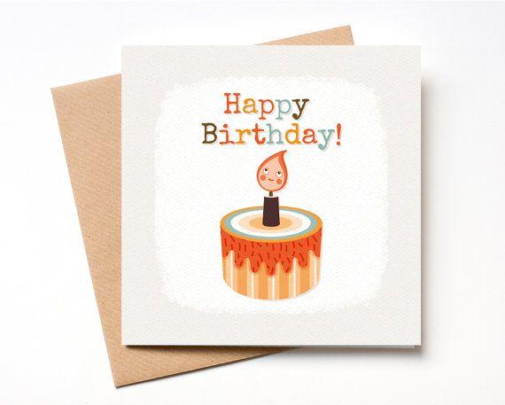 Birthday Cake and candle Card Cute Birthday Card by Pupsiku