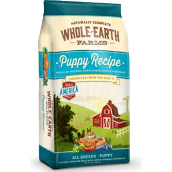 Whole Earth Farms Puppy Dog Food Whole Earth Farms dry kibble formulas were created as a truly holistic food at a value price, without compromising the quality of your beloved pet's food. We take the best, healthy ingredients from the earth and mix them into a delicious, daily meal. With multiple protein sources, vitamins and minerals, Whole Earth Farms provides your dog with the best the earth has to offer. Protein rich buffalo