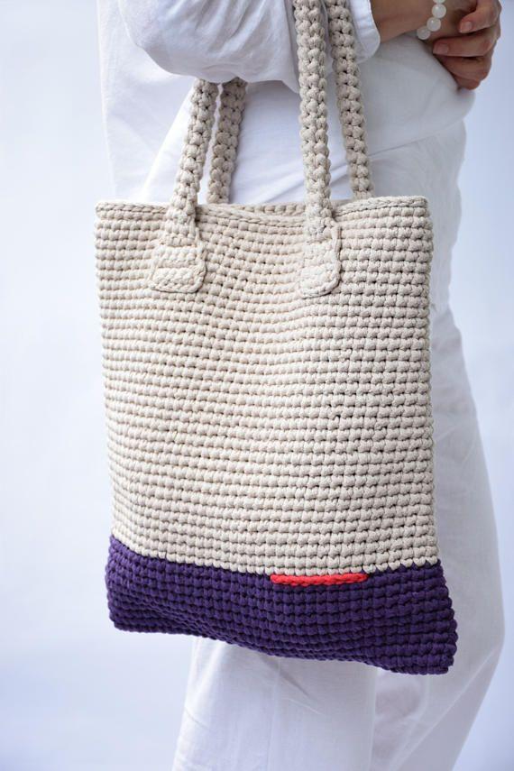 ♦ Middle Hand bag in ecru and lavender. Ivory Tote Bag/ Handmade bag/ Crochet …