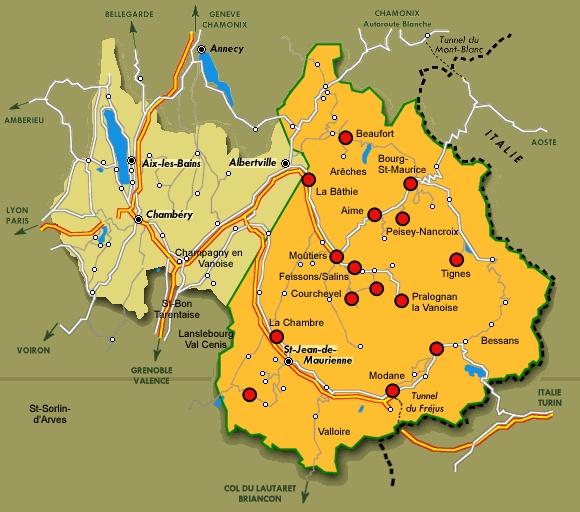 Carte des ateliers de fabrication du fromage Beaufort