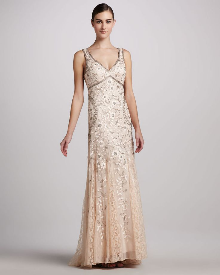 Sue Wong Beaded & Floral Embroidered Tulle Gown - Formal, Pink, Size ...