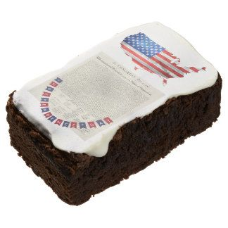 Declaration of Independence 4th of July USA Flag Chocolate Brownie #IndependenceDay #Party #July4th