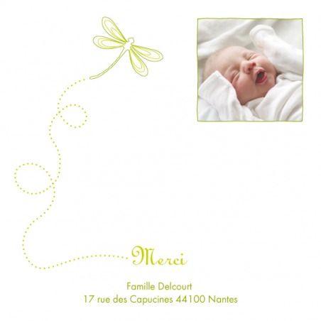Carte de remerciement (thank you card): Petite libellule - by Tomoë pour http://www.fairepartnaissance.fr #naissance #remerciement #birth