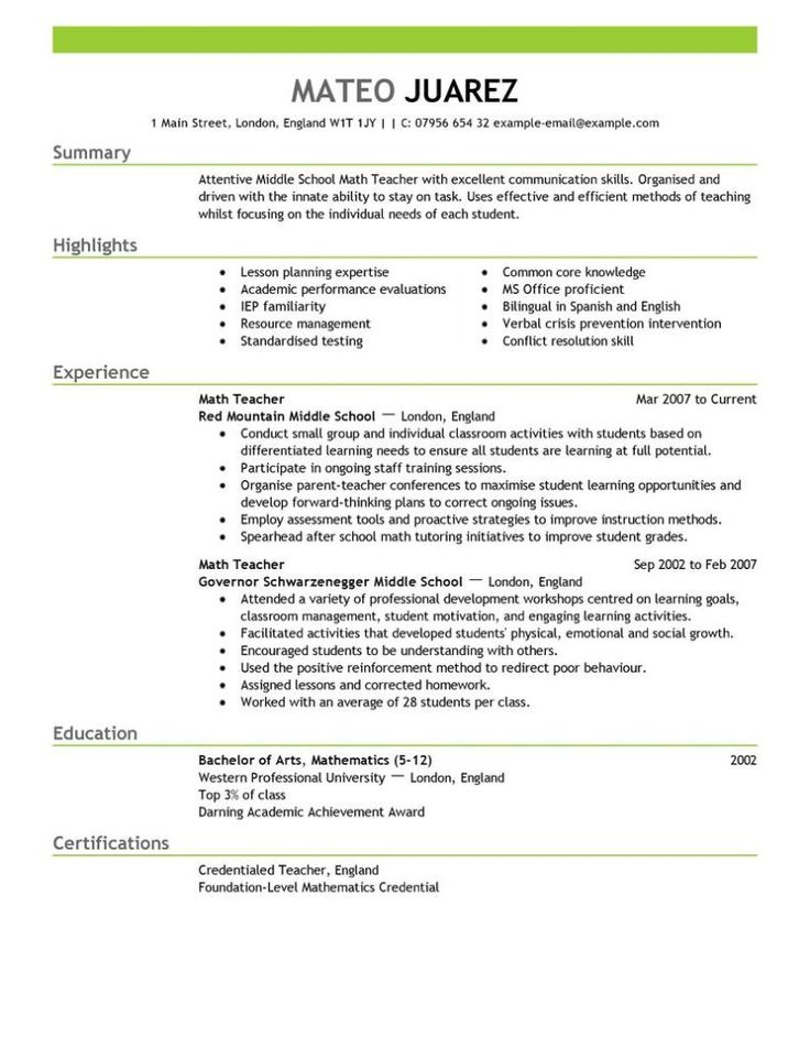resume and cv examples