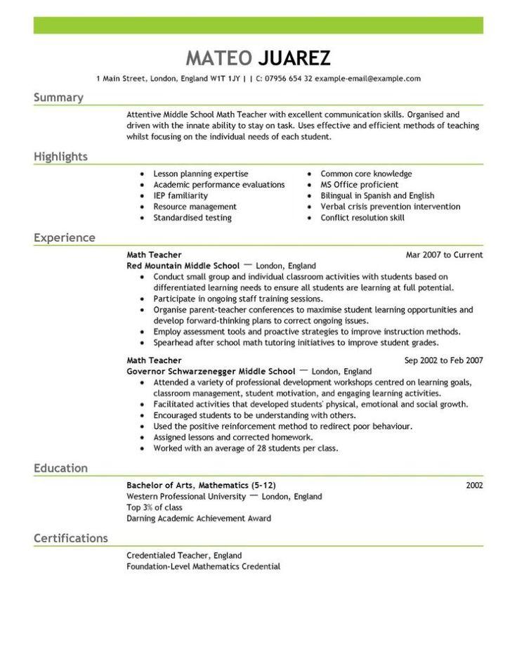 httpresumecvexamplecomteacher resume good resume examplescv