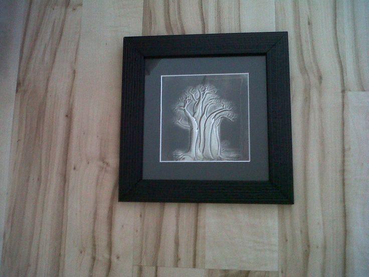 pewtered baobab tree - framed