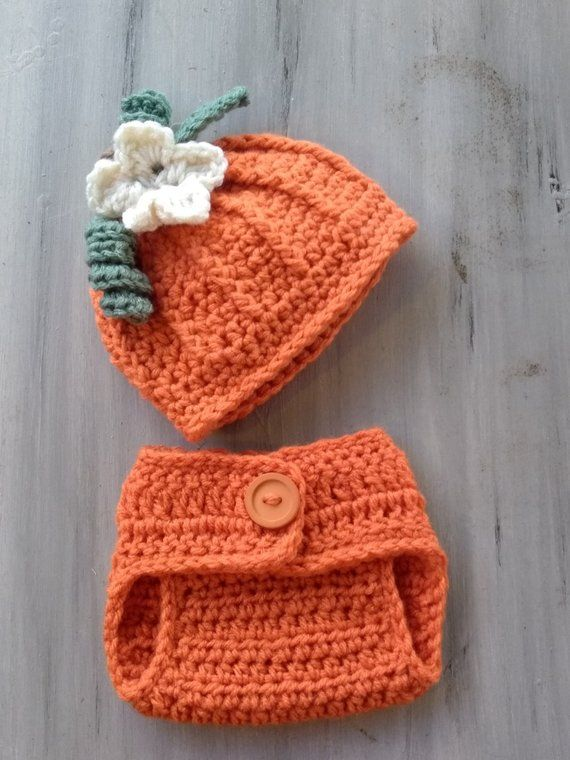 Newborn Pumpkin Beanie Hat Diaper Cover Set Newborn Baby Photo Prop Baby  Show Gift Comming Home Outfit b1fcd216a794