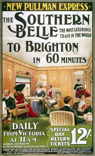 Brighton Southern Belle train Travel Poster Print 1800s