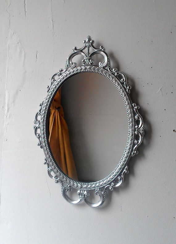 Ornate Oval Mirror in Vintage Metal Frame - 17 x 12 inch Handpainted Brass in Shiny Silver on Etsy, $76.00