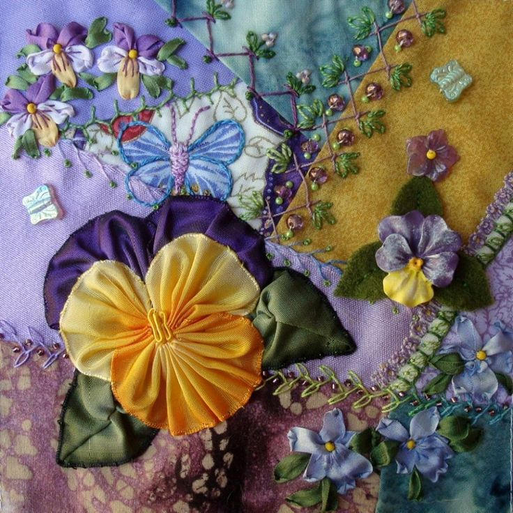I <3 crazy quilting, beading & ribbon embroidery . . . Pansy CQI RR Block for Kerry ~By Lisa P. Boni, ivoryblushroses