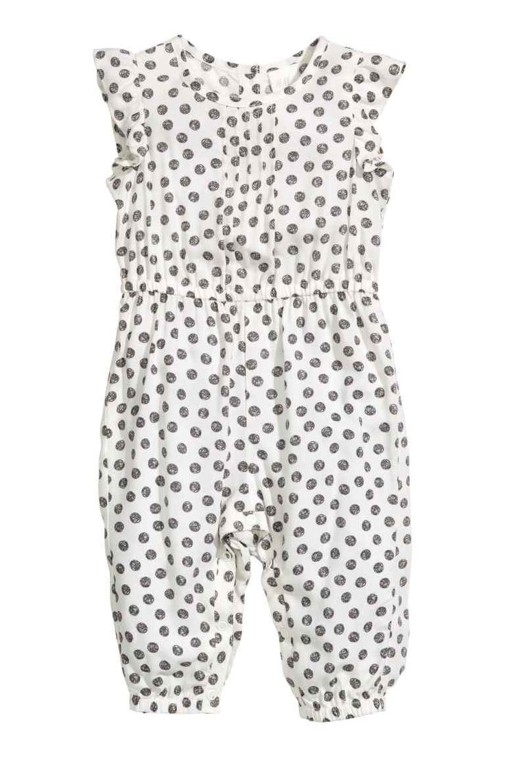 Patterned romper suit: Romper suit in a soft, patterned viscose weave with…