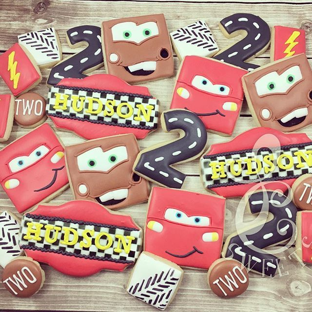 Lightning McQueen and Mater are celebrating with Hudson! #lcsweets #customcookies #cars #two #decaturtx #fortworth #dfw #birthdaycookies #cookiesofinstagram