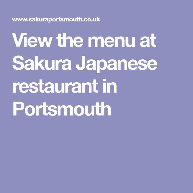 View the menu at Sakura Japanese restaurant in Portsmouth