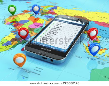 Travel destination and tourism concept. Smartphone on world map and pins. 3d - stock photo