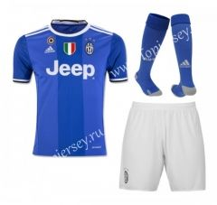 2016/17 Juventus Away Bule Kids/Youth Soccer Uniform With Patches and Socks