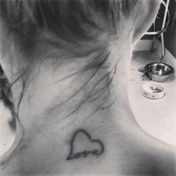 49 Beautiful Back Neck Tattoos: Tattoo On Back Of Neck. Heart Love..