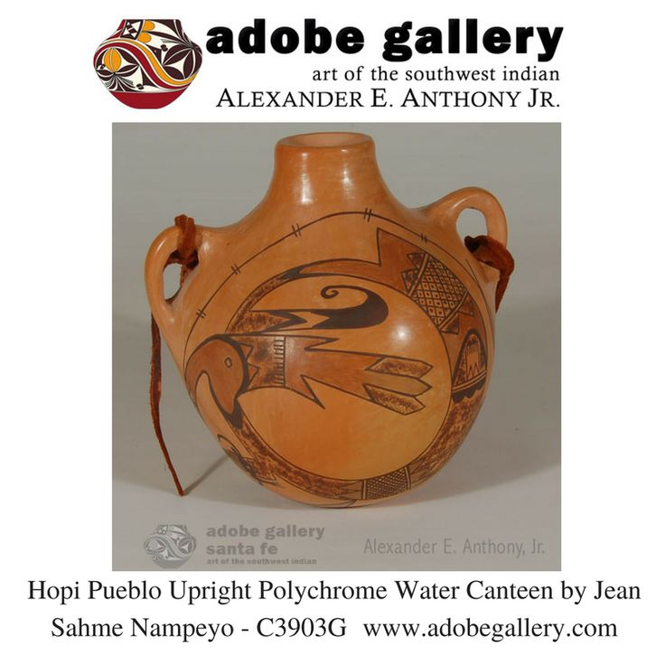 Hopi Pueblo Upright Polychrome Water Canteen by Jean Sahme Nampeyo - C3903G #adobegallery #SouthwestIndianPottery #HopiPueblo #NampeyoPottery #Pottery #PuebloPottery #SouthwestIndianArt #SantaFeNM #TheCityDiffierent
