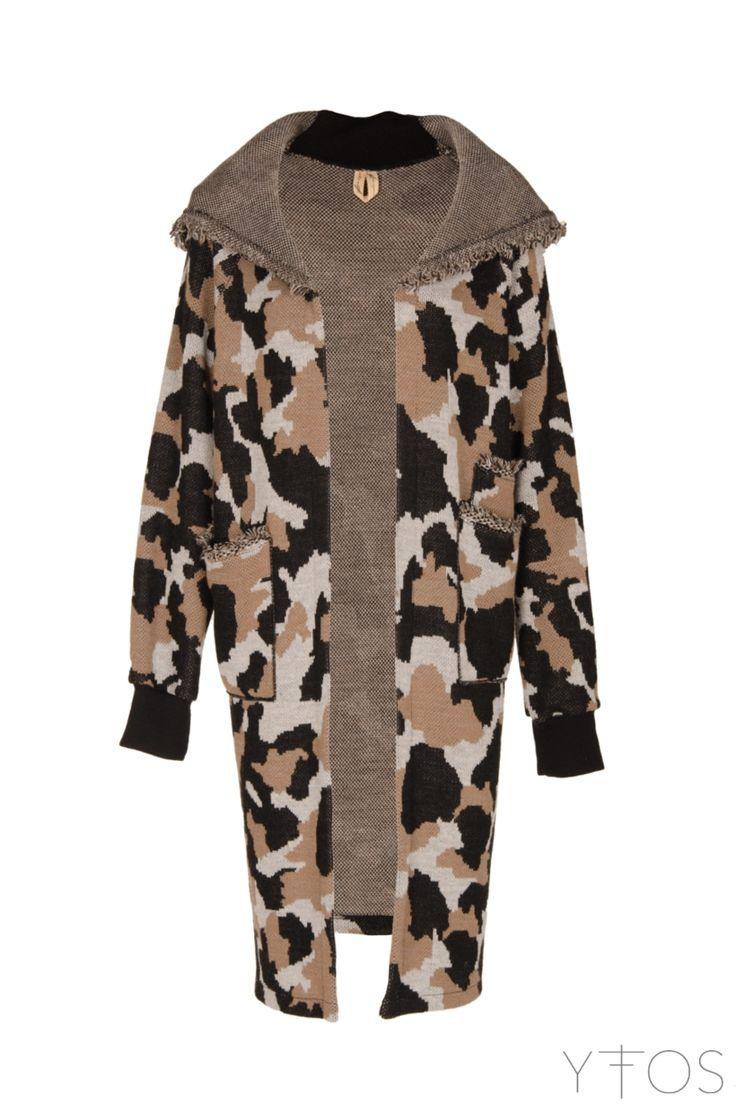 Black, Grey & Brown Military Hooded Cardigan