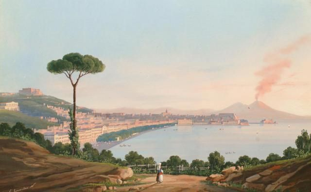 neapolitan school, late 19th century gouache on paper - 'bay of naples with vesuvius in the distance'.