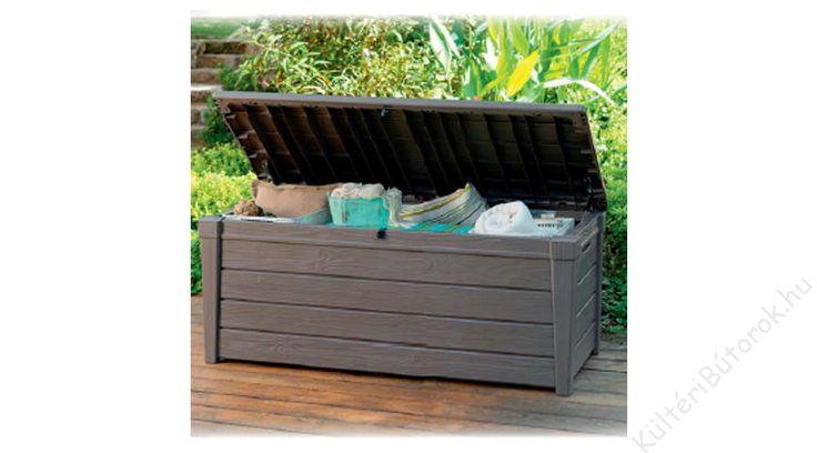 Praktikus párnaláda! Gyorsan pakolható, igazán hasznos minden kertben és a teraszon is! :D  Brightwood műanyag párnaláda  - fa kinézetű kemény műanyag - vízálló - méret: 145x70x60 cm Kiváló minőségű, időtálló vendéglátóipari bútorok akár otthoni felhasználásra is!