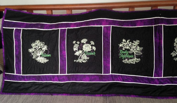Bed runner. Quilting. Machine embroidery. Poisonous plants.