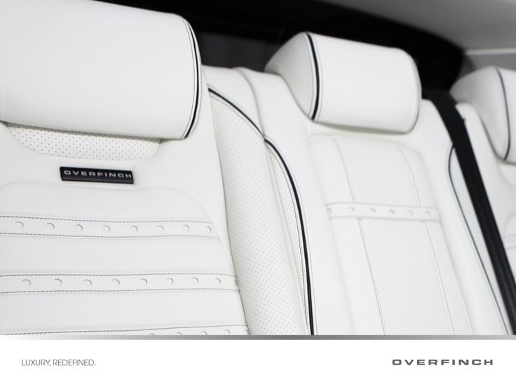 A close-up photograph of the rear seats showing the exquisite attention to detail applied by Overfinch craftsmen.