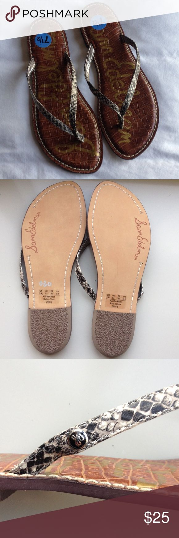 (NEW) Sam Edelman Snakeskin Flip Flops (New). Never worn. No tag. Size: 7 1/2 M. Snakeskin accent. No box. Ready to ship! Sam Edelman  Shoes